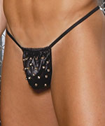 Studded leather pouch g string.